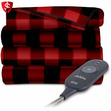 Electric Heated Blanket Fleece Throw Warming Heat Throws Warm Red Black Plaid
