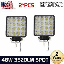 2X 48W LED Work Light Spot Light Off Road RZR Car Boat Jeep Truck Suv 12V 24V