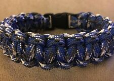 "8"" 550, Blue Camo Paracord Bracelet With 3/8"" Buckle, Handmade"