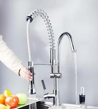 US Single Lever Pull-Out Spray Swivel Spout Kitchen Faucet Chrome Sink Mixer Tap