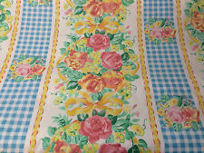 Pink & Blue Checked Floral Genuine Retro Printed 100% Cotton Curtain Fabric