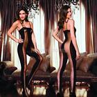 Sexy Women Black Sun-top Slinky Sheer Full Body Stocking Legging Jumpsuits  hv2n