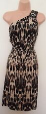 CONNECTED APPAREL LEOPARD ONE SHOULDER BEADED PENCIL LYCRA BODYCON DRESS 12 M
