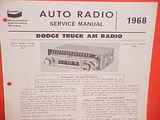 1968 DODGE PICKUP TRUCK POWER WAGON CREW CAB VAN BENDIX AM RADIO SERVICE MANUAL