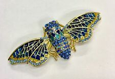Bee Fly Wasp Blue Crystal And Enamel Gold Tone Brooch Broach