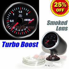 "DRIFT AUTO Gauge Meter 60mm/2.4"" SMOKED Lens WHITE Light RED Needle TURBO BOOST"