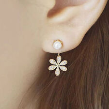 2 Pairs Fashion Crystal Rhinestone Ear Studs Daisy Flower Women Earring Jewelry