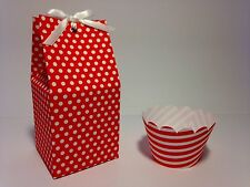 12 Christmas Red Polka Dot Individual Favour Cupcake Boxes Matching Wrappers