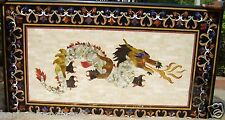 4'x2' Marble Dining Coffee Table Top Rare Dragon Art Marquetry Inlay Work H2066