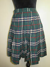 Genuine Burberry Green Check Mini Skirt Size S UK 8 Euro 36