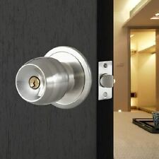 UK Stainless Steel Round Knobs Handle Passage Entrance Lock Door Entry with Key
