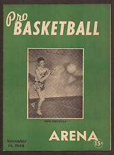 Nov 14 1946 BAA/NBA Champion Warriors/Fulks Program v Capitals/Auerbach UNSCORED