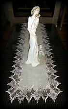 "54""  Dresser Scarf Table Runner Doily FEATHER LACE Neutral Earth Tone"