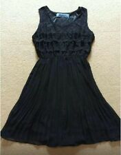 SEXY LIQUORISH BLACK LACE LAYER FRONT SLEEVELESS PLEAT SKIRT SHORT DRESS M L 12