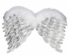 White Feathered Angle Wings Silver Cute Sexy womens Halloween Costume Accessory