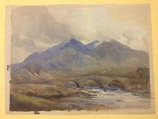 Eric Walter Powell, Original Aquarell, englische Berglandschaft Brücke, von 1926