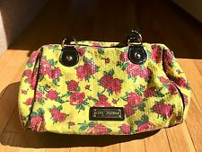 Betsey Johnson Yellow & Pink Sequin Rose Large Satchel Purse Shoulder Hand Bag