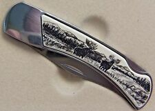 Lockback Knife Barlow Scrimshaw Carved Painted Art  Moose Pair at Lake 510609 n