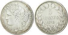 GOUV  DÉFENSE NATIONALE   5  FRANCS  CERES  ARGENT 1870  K  ETOILE  SANS LEGENDE