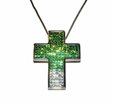 """CANDY BLING"" Green/White Crystal & Sterling Silver Cross & Chain (RRP £72.95)"