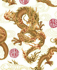 1 Yard: WHITE FIRE-BREATHING DRAGONS: Japanese Asian Oriental Quilt FAabric