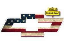 CHEVY BOW TIE SYMBOL LOGO W/ AMERICAN FLAG IMPOSED DECAL/STICKER CHEVORET FLG88