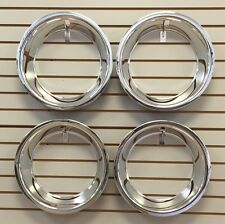 "15"" 3"" Chrome Stainless Steel Smooth Trim Ring Set 15x8 15x10 Rally Wheels"