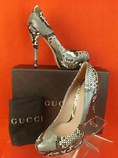 NIB GUCCI LISBETH NATURAL PYTHON LEATHER VINTAGE ROSE PLATFORM PUMPS  38 8 $1100