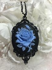 #JRK1 ROCKABILLY Blue Black Rose Goth Necklace Pendant Victorian Steampunk Cameo