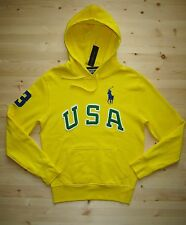 Polo Ralph Lauren Big Pony Fleece USA Pullover Hoodie in Small in Yellow