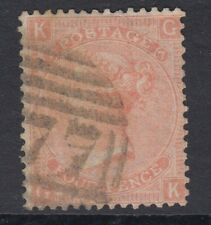 GB SURFACE PRINTED:1865 Large Garter 4d dull vermillion plate 7 -G-K  SG 94 used