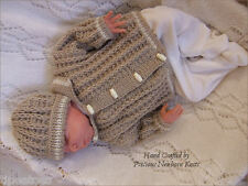 Baby Knitting Pattern TO KNIT 'Frankie' Jacket/Coat & Hat Reborn Dolls