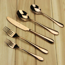 Rose Gold Plated Stainless Steel Flatware Cutlery Set Spoons Dinnerware Mirror