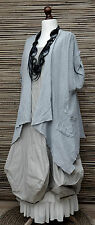 LAGENLOOK LINEN/COTTON AMAZING BEAUTIFUL 2 POCKETS JACKET*LIGHT GREY*SIZE L-XL