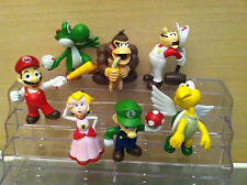 New Cake Toppers 7 pc Set Super Mario Action Figures + Nice Plastic Case