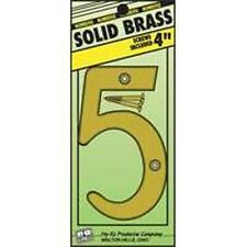 "NEW HY-KO BR-90/5 4"" INCH SOLID BRASS #5 HOUSE MAILBOX NUMBER WITH SCREW 0251165"