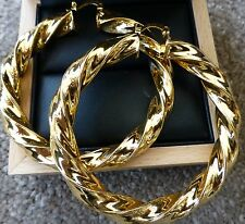 HUGE 18ct REAL YELLOW BIG GOLD FILLED LARGE TWIST HOOP EARRINGS 65mm UK SELLER