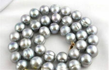 "surprising 18"" AAA 12-13mm tahitian baroque gray pearl necklace 14k"