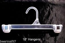 """10 Retail Clothes Hangers 10"""" [25cm] Plastic Snap Lock Pants Skirt"""