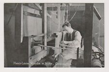 Devon postcard - Hand Loom Weaver at Work, Cockington