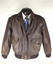B52 Leather Jacket Size Large Bomber Flight Zipper Front Map Lining Vintage