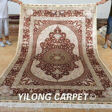 Yilong 6'x9' Persian Silk Rugs Hand Knotted Artificial Carpets Old Handmade 0988
