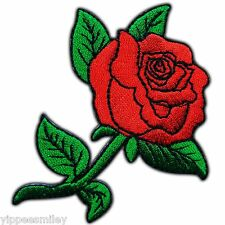 Red Rose Flower Happy Love Lady Rider Biker Tattoo Girl Sew Iron-On Patch #0137