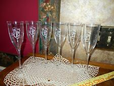 Set 6 RARE Perrier Jouet Hand Painted Champagne Flutes Glasses Made in France