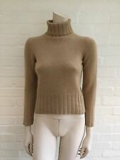BRUNELLO CUCINELLI CASHMERE BEIGE KNIT TURTLENECK SWEATER JUMPER SZ US 0 UK 6 XS