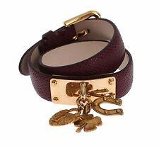 NWT $400 DOLCE & GABBANA Bracelet Bordeaux Leather Gold Charms Buckle Wrap  s. S