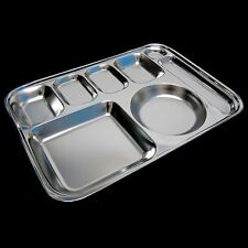 New Sanitary Stainless Steel Meal Plate Food Tray Portion Control Plate Silver