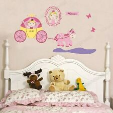 Large Pink Princess&Pumpkin Carriage Vinyl Wall Stickers Girls Room Top Quality
