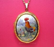 CHICKENS Porcelain ROOSTER & HEN CAMEO Locket Pendant Necklace Valentine Gift