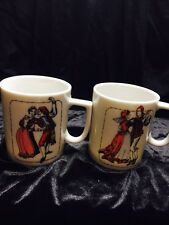 Coffee/tea Cups Made In ITALY WITH DANCING COUPLE- Small And Adorable!!! VGUC!!!